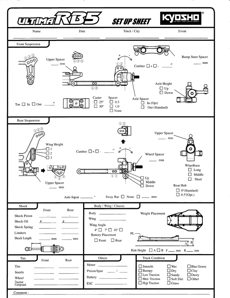 Kyosho Ultima Rb5 Setup Sheets